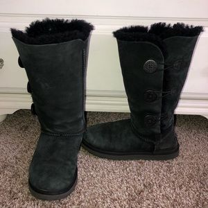 Ugg Black Bailey Button Triplet Boot